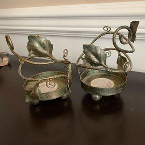 Pier 1  leaf candle holders - set of 2. EUC